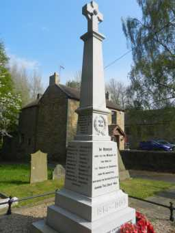 Close up of front and left of War Memorial Cross, Church Lane, Hunwick 2016
