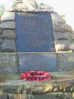 Oblique view of plaque of war memorial outside All Saints' Roman Catholic Church, Lanchester 2016