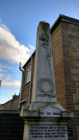 Close up of top of War Memorial Obelisk, High Street, Howden-le-Wear 2016