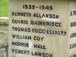 Extreme close up photograph of names on Hamsterley War Memorial 2016