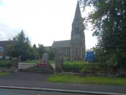 War Memorial Stone Scroll Monument and St. Mary's Church, West Rainton July 2016