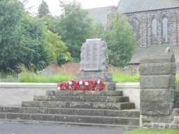 Front face and steps of War Memorial Stone Scroll Monument, St. Mary's Churchyard, West Rainton July 2016