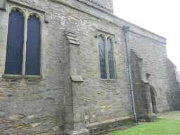 photograph of drain pipe and window on St. Mary's Church 2016