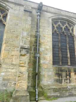 photograph of side window and drain pipe on St. Mary's Church 2016
