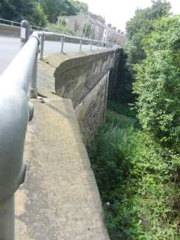 Close up photograph of railings at bridge over Broomside Cutting 2016