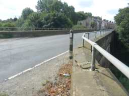 Photograph of road post at bridge over Broomside Cutting 2016