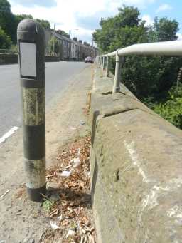 Close up photograph of road post at bridge over Broomside Cutting 2016