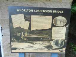 Information sign near Toll House at NW end of Whorlton Bridge May 2016