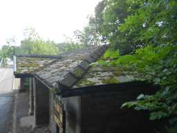 View of roof of Toll House at NW end of Whorlton Bridge from right side May 2016