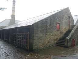 Photograph of steps to side of Beamish Hall Farm building 2016