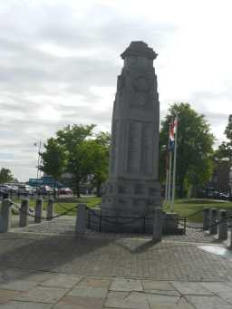 War Memorial Cenotaph, from back, with flags Town Centre, Crook 2016