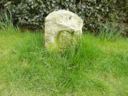 County Council Marker Stone at 77 Staindrop Road close view showing 'C' 2017