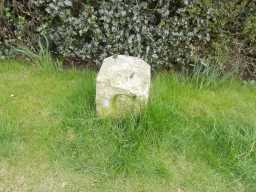 County Council Marker Stone at 77 Staindrop Road side on - showing 'C' 2017