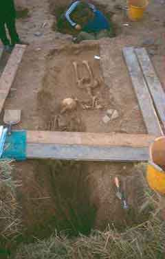 Excavations at the early medieval cemetery in Bamburgh. Photo Northumberland County Council.