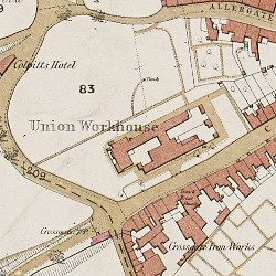 Durham Union Workhouse, from Ordnance Survey map, 1857 (D/XP.OS 391/5)