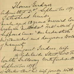 Winterton case notes for Thomas Gardner of Gateshead, 1898 (H/Wi 212)